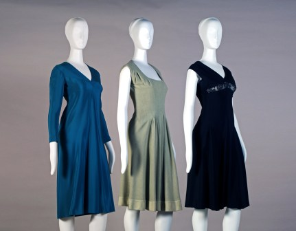 Charles Kleibacker developed an individualistic style that did not follow trends. He designed his garments with the aim of providing a good fit while also allowing for freedom of motion. These three cocktail dresses are good examples of his unique style: teal four-ply silk, c. 1973 (left); green wool, 1968 (middle); black four-ply silk, 1978 (right). (From Encyclopedia of Alabama, photograph courtesy of the Kent State University Museum)