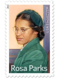 The U.S. Postal Service released a commemorative stamp honoring civil rights icon Rosa Parks in February 2013. Artist Thomas Blackshear II created an original painting for the stamp, based on a 1950s photograph. (From Encyclopedia of Alabama, photo courtesy of the U.S. Postal Service)