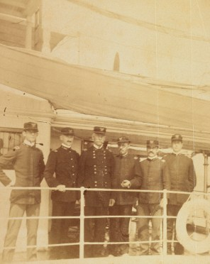 Maj. Gen. Henry Ware Lawton and staff standing on ship, c. 1890s. (Library of Congress Prints and Photographs Division)