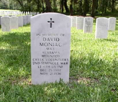 David Moniac's gravestone, Florida National Cemetery. (Jody Scott Fulwood, https://www.findagrave.com)