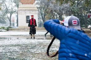 The University of Alabama got the white to go with its crimson with the snowfall. (Strategic Communications/The University of Alabama)