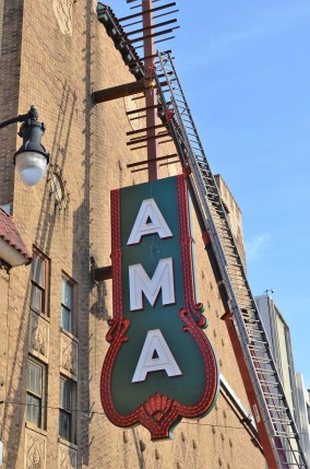 The new 18th Street sign is the final step in the restoration of the historic Alabama Theatre's exterior. (Michael Tomberlin / Alabama NewsCenter)