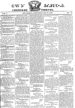 Front page of the Cherokee Phoenix newspaper, May 21, 1828. (Cherokee Phoenix, Wikipedia)