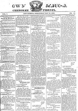 Front page of the Cherokee Phoenix newspaper, May 21, 1828. (Cherokee Phoenix, Wikipedia)