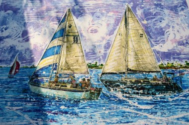 Nick Cantrell's Gulf Coast-themed batik works have proven popular at galleries and art festivals. (Karim Shamsi-Basha / Alabama NewsCenter)