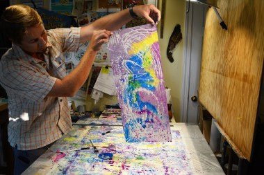 Wax is the basis for batik, an art form popular in countries such as Indonesia and India. Alabama's Nick Cantrell adds watercolor to the mix. (Karim Shamsi-Basha / Alabama NewsCenter)