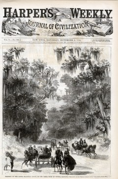 A Harper's Weekly cover from 1866 features an engraving of a magnolia grove on the Shell Road in Mobile. (Birmingham Public Library Archives)