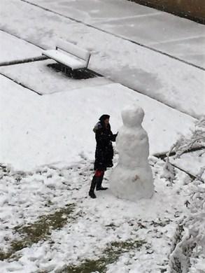 Employees built a snowman in Alabama Power's Corporate Park in downtown Birmingham. (Nancy Prater / Alabama NewsCenter)