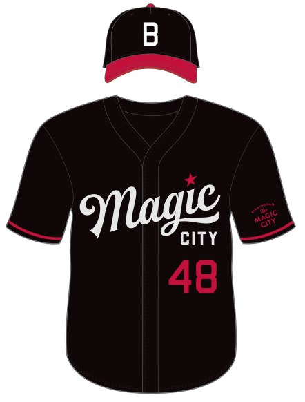 The Birmingham Barons' new Magic City uniform will be worn during Thursday home games in the upcoming season. (contributed)