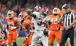 Alabama running back Damien Harris (34) enjoys his team's dominance over Clemson in this week's Sugar Bowl. (Crimson Tide Photos)