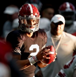 Alabama quarterback Jalen Hurts (2) practices for the national championship game vs. Georgia. (Amelia B. Barton / University of Alabama Athletics)