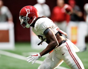 Alabama wide receiver Cam Sims (17) practices with the Tide on Thursday. (Amelia B. Barton / University of Alabama Athletics)