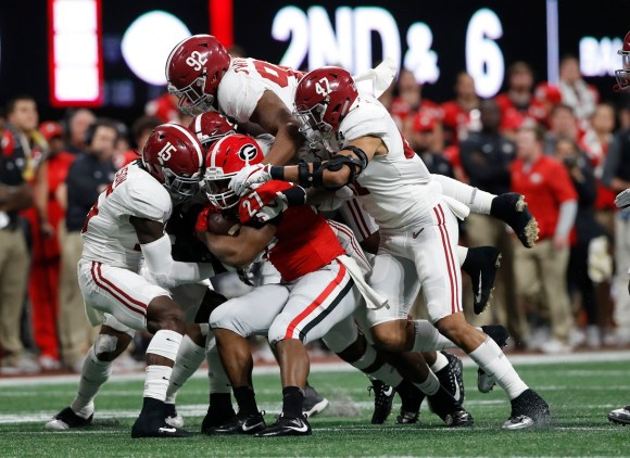 Alabama defensive lineman Quinnen Williams (92) in the National Championship Game. (Crimson Tide Photos)