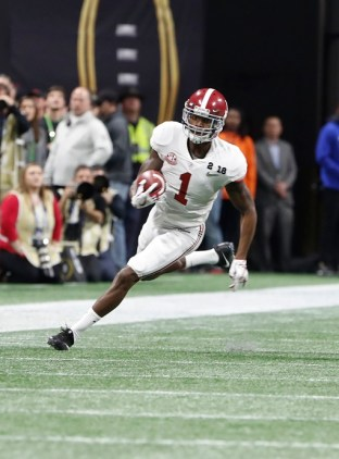 Alabama wide receiver Robert Foster (1) in the National Championship Game. (Crimson Tide Photos)