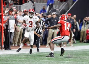 Alabama wide receiver Calvin Ridley (3) in the National Championship Game. (Crimson Tide Photos)