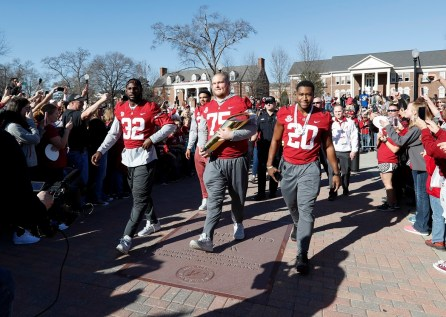 Players and coaches joined fans in the parade and trophy presentation to celebrate the Alabama Crimson Tide's 17th national championship. (Amelia B. Barton)