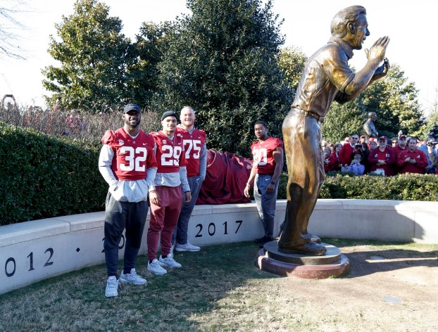 Alabama team captains celebrate the national championship. (Amelia B. Barton)