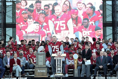 Alabama center Bradley Bozeman (75) speaks to fans. (Kent Gidley)