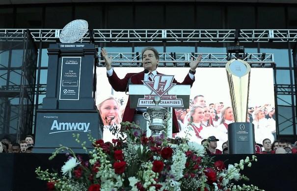 Nick Saban speaks at the national championship celebration. (Kent Gidley)