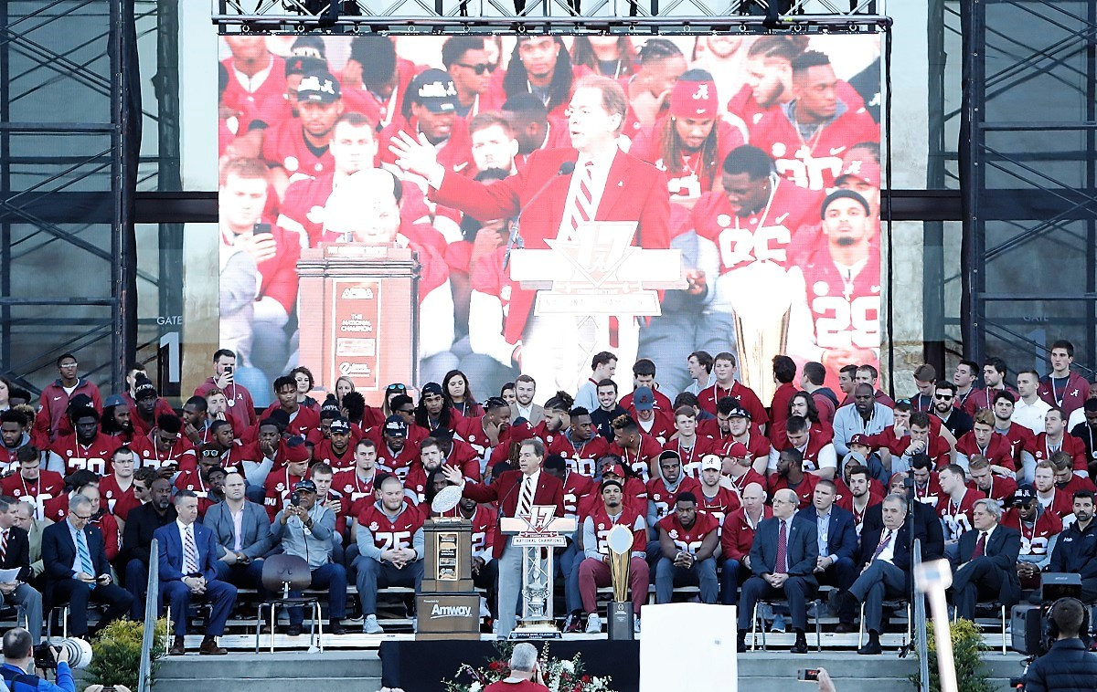 Nick Saban speaks at the national championship celebration. (Robert Sutton)