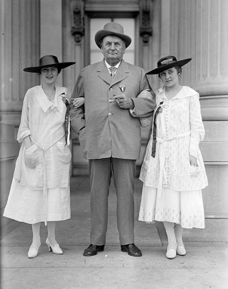 John Hollis Bankhead (Rep. from Alabama 1887-1907, Senator 1907-1920) at a confederate reunion with grand-daughters Tallulah (left) and Eugenia (right), 1917. (Harris & Ewing, Library of Congress Prints and Photographs Division)