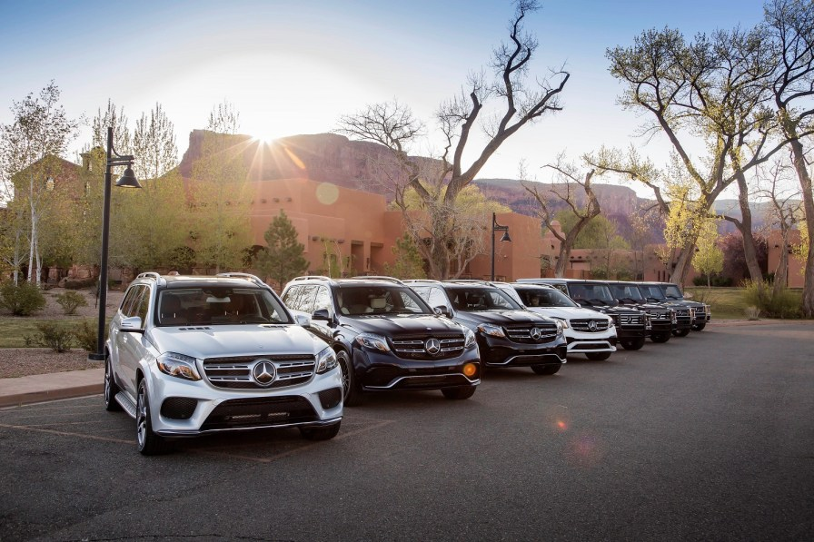 The 2017 GLS and 2016 G-Class from Mercedes. The company was the top-selling luxury brand for the second straight year. (Mercedes)