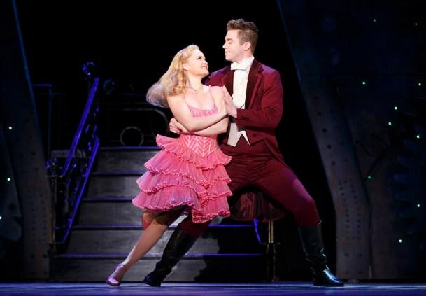 "Amanda Jane Cooper as Glinda and Jake Boyd as Fiyero dance in ""Wicked."" (Joan Marcus)"