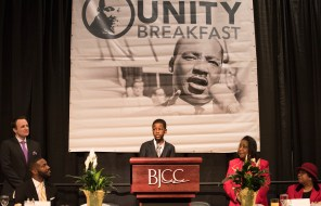Young Birmingham student recites Dr. King's I Have a Dream speech at the Unity breakfast. (Chris Jones/Alabama NewsCenter)