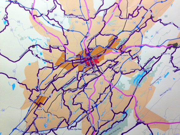 A map created for the B Active plan shows a pedestrian and bicycling network proposed for the Birmingham area. (contributed)