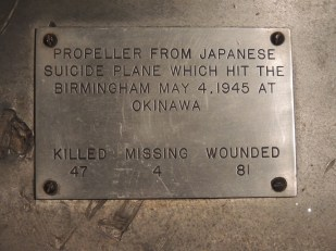 Plate affixed to the propeller of a Japanese suicide plane which hit the USS Birmingham at Okinawa. On display at the USS Alabama (BB-60) Museum, Mobile. (Corruptinator, Wikipedia)