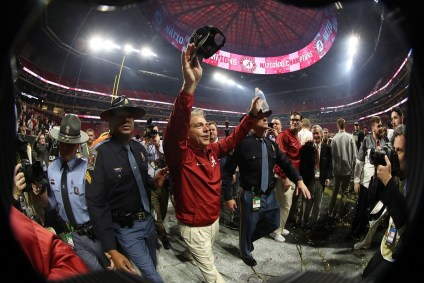 Nick Saban celebrates the National Championship Game victory. (Crimson Tide Photos)