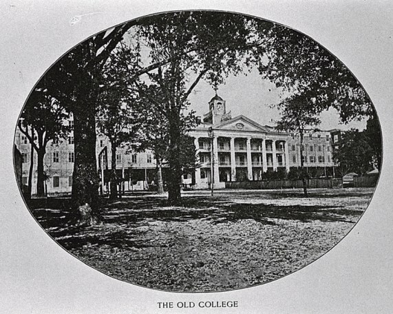 One of the original buildings at Spring Hill College. This building burned in 1869. (Spring Hill's 75th anniversary yearbook, photograph by E.W. Russell, HABS, Library of Congress, Wikipedia)