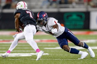 South Alabama's Jeremy Reaves represents the Jaguars at Saturday's Senior Bowl. (Bobby McDuffie/Icon Sportswire)