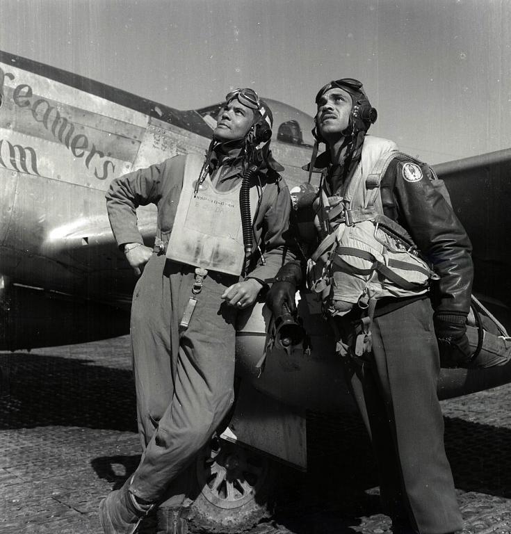 Col. Benjamin O. Davis and Edward C. Gleed, wearing flight gear, at air base at Rametti, Italy. (Library of Congress Prints and Photographs Division)