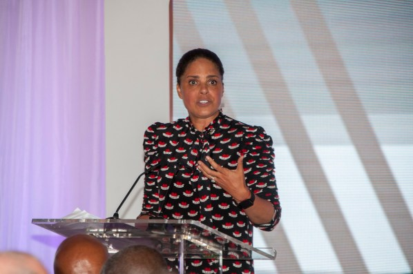 Soledad O'Brien speaks at the Power of Leadership luncheon. (Billy Brown / Alabama NewsCenter)