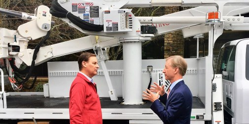 "Altec Inc. CEO Lee Styslinger III, right, speaks with Jay Timmons, president of the National Association of Manufacturers, during NAM's 2018 ""State of Manufacturing"" tour stop in Birmingham. (contributed)"