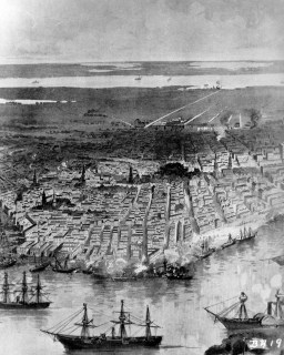 Artwork depicting the Federal fleet at anchor in the river, New Orleans, 1862. (Illustration from Campfires and Battlefields by Rossiter, Johnson, et al., 1894, National Archives and Records Administration)