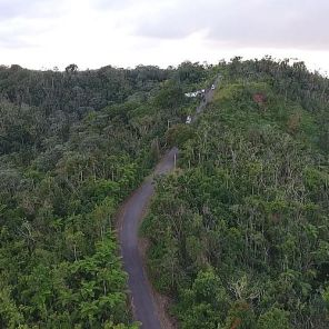 A view from high above of Puerto Rico scenery and crews restoring outages in the distance. (Alabama Power file)
