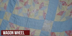 Part of Gracie M. Bell's collection of story-telling quilts. Wagon Wheel (Chad Allen/Alabama NewsCenter)