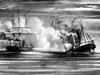 This nineteenth-century print depicts the encounter between the USS Hatteras, right, and the CSS Alabama near Galveston, Texas, on January 11, 1863, during the Civil War. The Hatteras was sunk after a 20-minute battle, with most of the ship's crew being taken prisoner by the Confederacy. (From Encyclopedia of Alabama, courtesy of the U.S. Naval Historic Center)