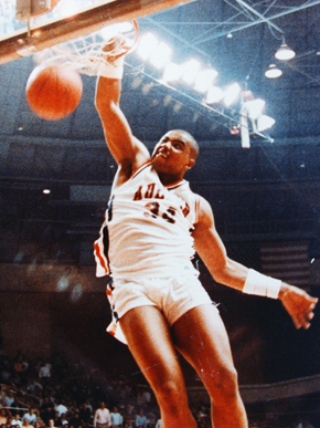 Charles Barkley attended Auburn University in the early 1980s, playing for the basketball team and earning the Southeastern Conference's Player-of-the-Year award in 1984. Although he played only three seasons for the Tigers, he is the school's seventh leading rebounder and is listed among Auburn's top 20 scorers with 1,183 points. (From Encyclopedia of Alabama, courtesy of Auburn University)