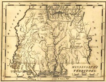 A map of the Mississippi Territory published ca. 1813 by Mathew Carey. The right half of the map is present-day Alabama. (From Encyclopedia of Alabama, courtesy of W.S. Hoole Special Collections Library, The University of Alabama Libraries)