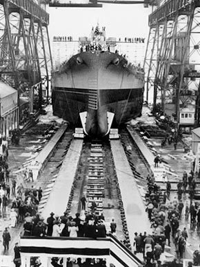 The battleship USS Alabama is launched from the Norfolk Navy Yard in Portsmouth, Virginia, on February 16, 1942. (From Encyclopedia of Alabama, U.S. Navy)