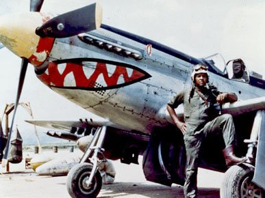"""Lt. Daniel """"Chappie"""" James poses with his F-51 Mustang fighter plane during the Korean War. The plane is the same type flown by the Tuskegee Airmen during World War II, although it was known at that time as the P-51 for """"pursuit."""" (From Encyclopedia of Alabama, United States Air Force)"""