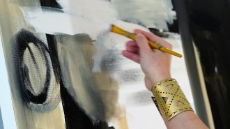 Maples takes brush in hand and trusts her muse to guide each painting's creation. The results have connected with people, which she says is what she loves most about being an artist. (Mark Sandlin/Alabama NewsCenter)