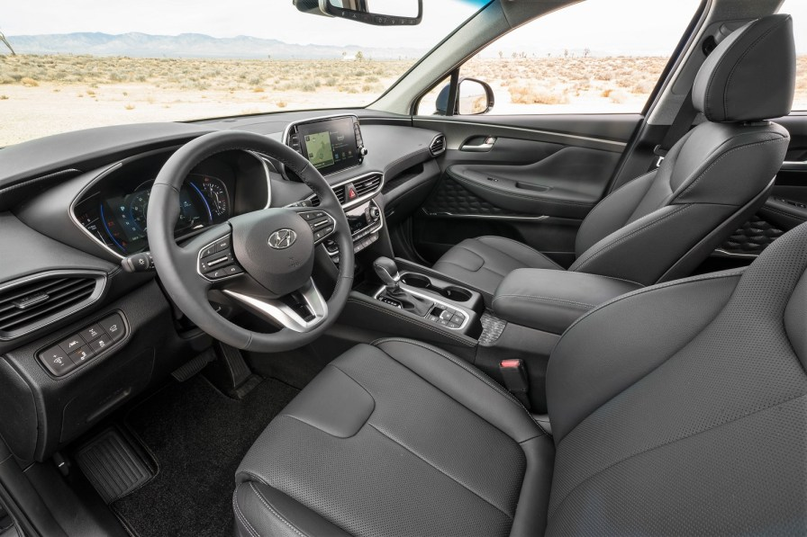 Inside the newly overhauled Hyundai Santa Fe, which is being built at the company's Montgomery plant. (Hyundai)