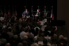 The crowd is engaged as Newton speaks during luncheon. (Bruce Nix/Alabama NewsCenter)