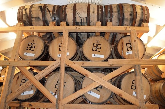 The rack house at Big Escambia Spirits is adding new barrels every month to produce Dettling, Alabama's first field-to-bottle bourbon. (Michael Tomberlin / Alabama NewsCenter)