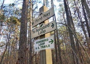 Trail signs at the Kreher Nature Preserve. (Copyright © Lew Scharpf)