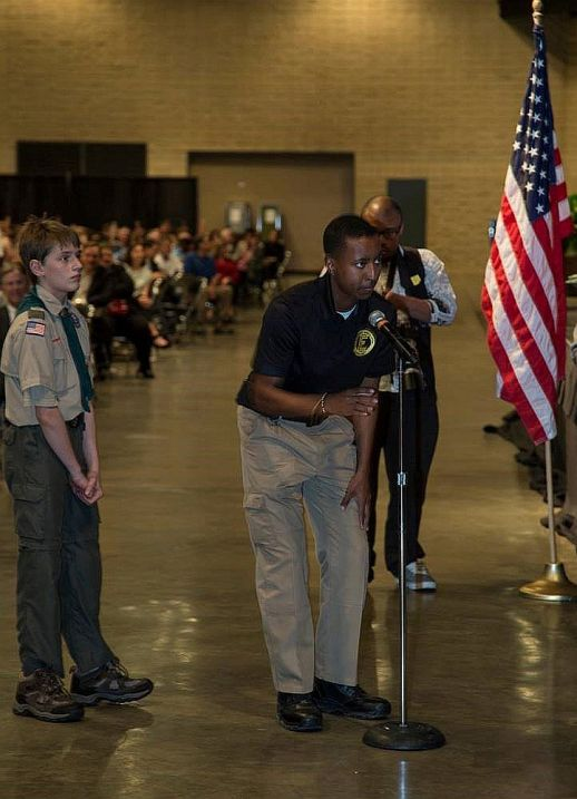 A couple of young men ask questions at the Boy Scouts' luncheon 2017. (Boy Scouts)